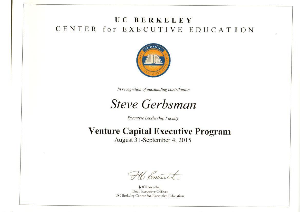 Steven R Gerbsman Guest Lecturer At Uc Berkeley Venture Capital